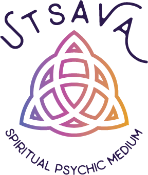 Utsava Spiritual Psychic Medium logo purple violet orange gradient triquetra symbol